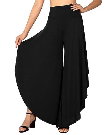 75249f692401 Amazon.com  FISOUL Womens Palazzo Pants Layered Wide Leg Flowy Dress ...