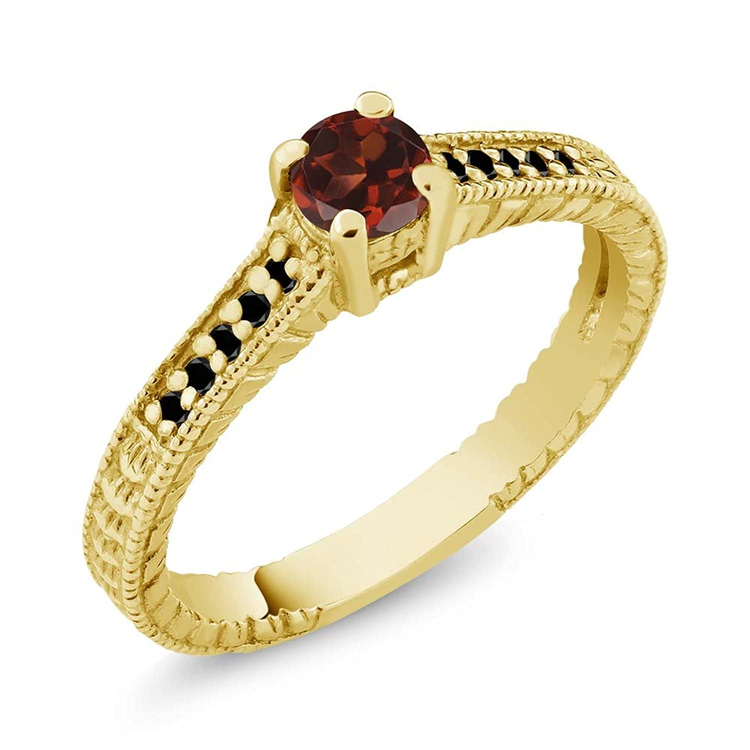 0.49 Ct Round Red Garnet Black Diamond 18K Yellow Gold Plated Silver Ring