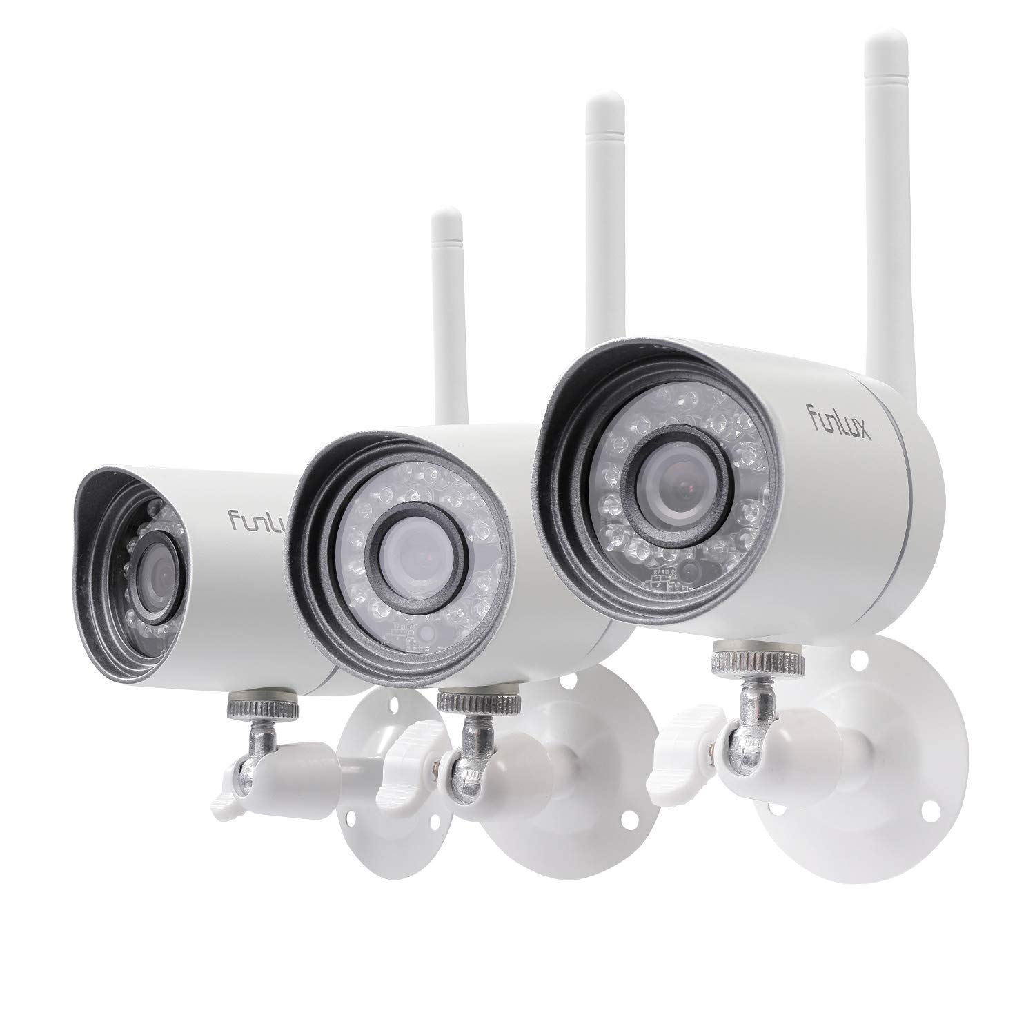 Funlux Wireless Security Camera System (3 Pack), Smart Home HD Indoor Outdoor WiFi IP Cameras with Night Vision, Cloud Service Available (Renewed)