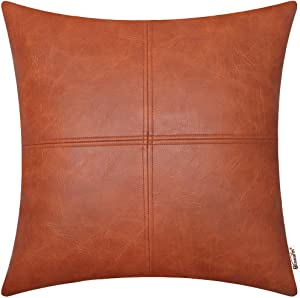 BRAWARM High Class Throw Pillow Cover Case for Sofa Couch Home Decor Solid Dyed Luxurious Faux Leather Hand Stitched 20 X 20 Inches Cognac