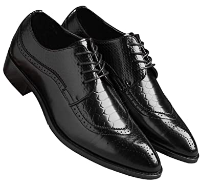 66cb0d4afb396 Oxford Shoes Men Brogue Pointed Toe Wingtip Lace-up Leather Formal Dress  Shoes Black 5