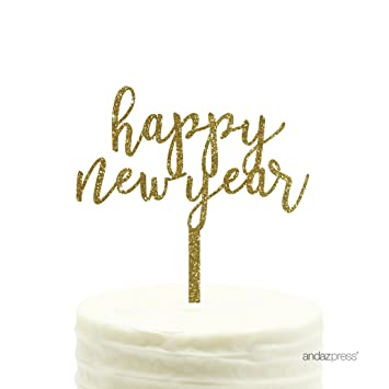 andaz press holiday acrylic cake toppers gold glitter happy new year 1