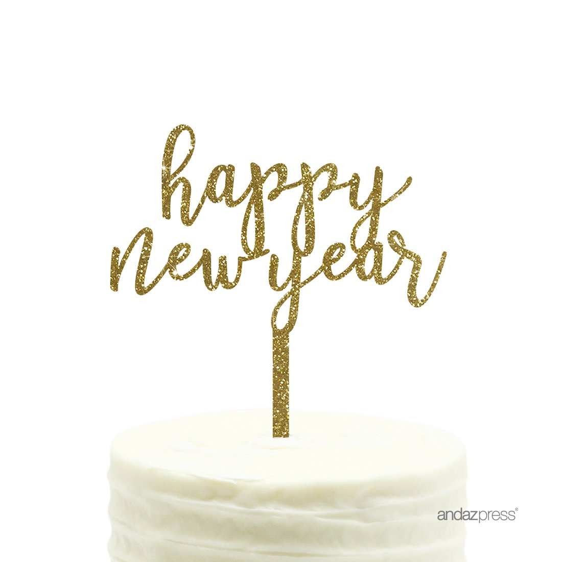 Andaz Press Holiday Acrylic Cake Toppers, Gold Glitter, Happy New Year, 1-Pack, 2018 2019 2020