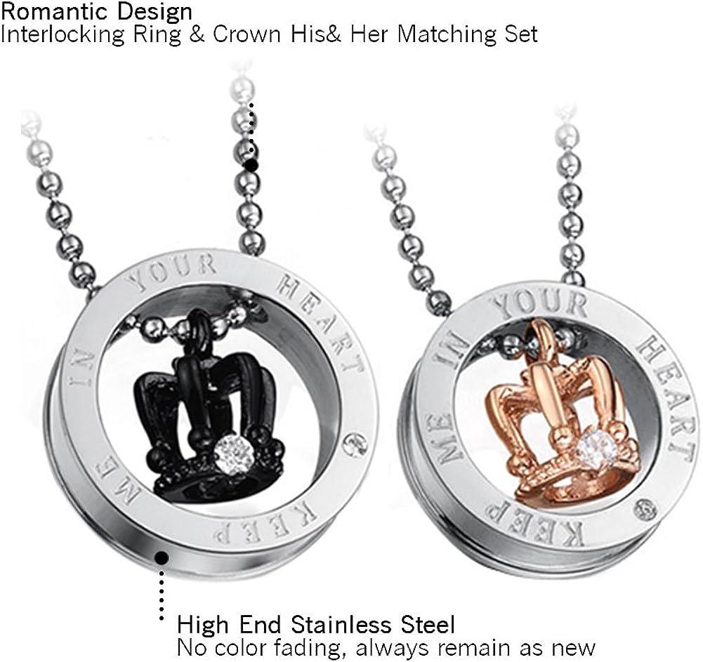 Lot de 2 colliers avec couronne en pendentif Acier inoxydable avec zircons Id/ée cadeau pour homme et femme rose et noir