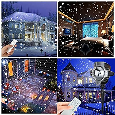 Snowfall Led Lights, Yoyokit Rotating Waterproof Snowflake Outdoor Projector Lights with Wireless Remote for Patio,Garden,Halloween,Christmas,Holiday,Wedding,Party
