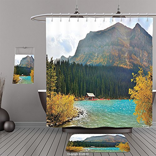 Uhoo Bathroom Suits & Shower Curtains Floor Mats And Bath TowelsAmericana Landscape Decor Lake Louise Art in Winter Day National Canadian Peaceful Habitat Green BlueFor Bathroom (Louise Coupe)