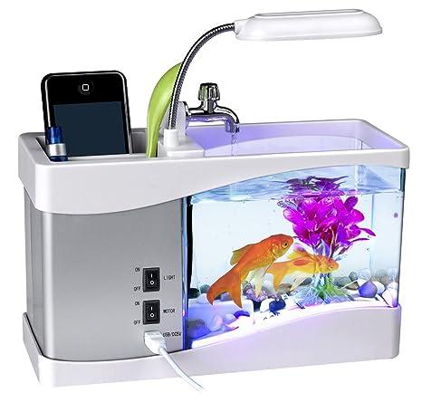 ajusen USB Mini tanque de peces acuario de peces de acuario de agua con el agua