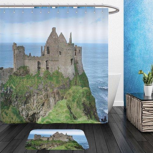 Vanfan Bathroom 2Suits 1 Shower Curtains & 1 Floor Mats view of dunluce castle in northern ireland 158431391 From Bath room (Wigs Halloween Ireland)