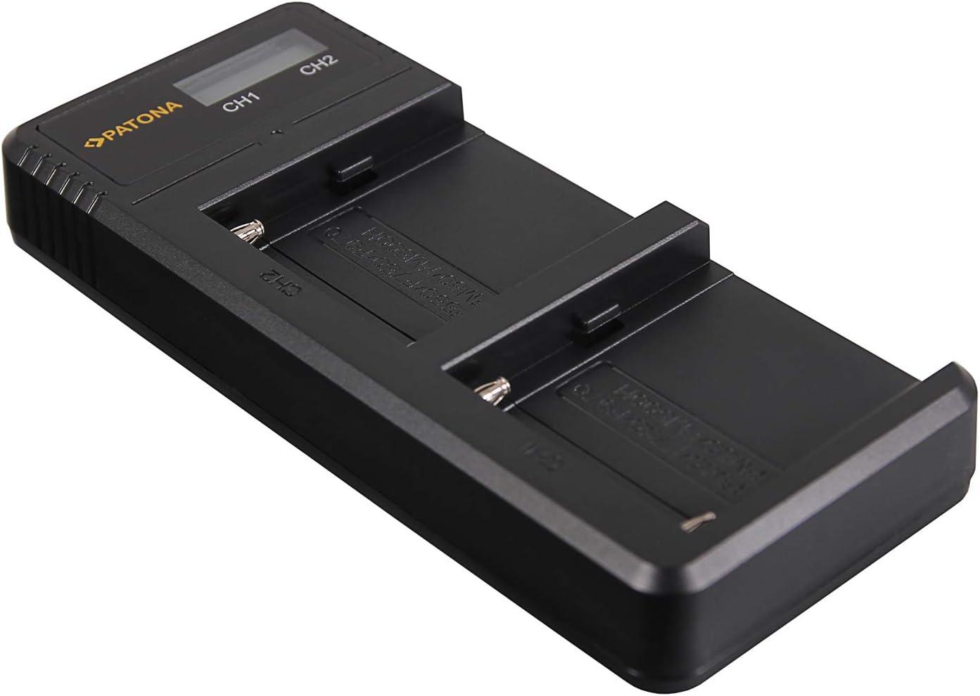 NP-fm500h - fm50 - f750 - f970 Patona dual LCD USB Cargador para Sony np-f550