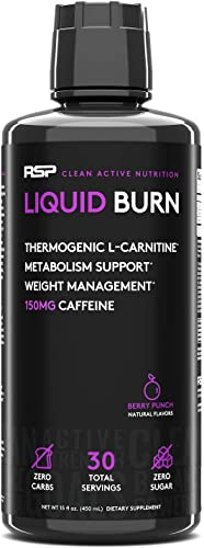 RSP Liquid Burn – Liquid Thermogenic Fat Burner, Energy, and Metabolism Support, Zero Sugar, Berry, 30 Servings