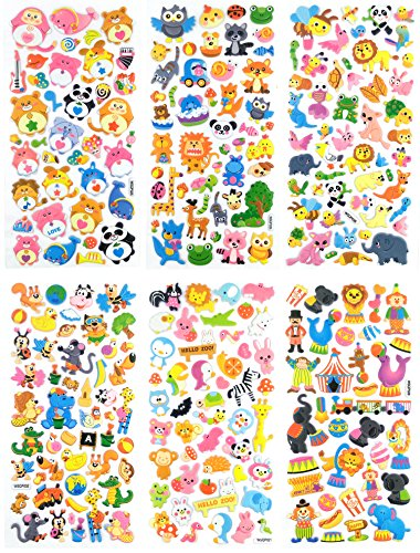 SET038-CIRCUS - 6 Sheets Happy Circus and Happy Zoo Animal Reusable Puffy Stickers (Monkey, Bear, Elephant, Lion, Owl, Bee, Rabbit, Dog, Zebra, Koala, etc.) Size 3.50 X 7.5Inch./sheet (Set Zebra Decal)