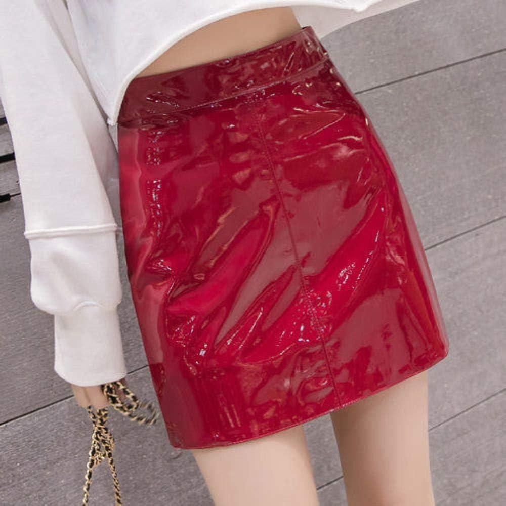 HSDFKD Falda De Mujer Otoño De Cuero con Cremallera Dividida De Cintura Alta Slim A-Line para Niñas Mini Faldas para Mujer