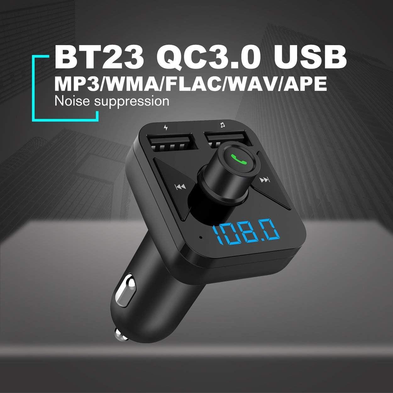 BT16 3.4A Cargador USB Bluetooth Car Kit Transmisor FM modulador Audio M/úsica Coche Reproductor de Mp3 Tel/éfono Inal/ámbrico Manos Libres Kit para Coche