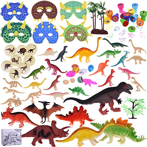 88Pcs Kids Dinosaur Toy Kit Including Assorted Mini Figures, Stamps, Masks, Dinosaur Eggs, Sticker Tattoos and More for Dinosaur Party -