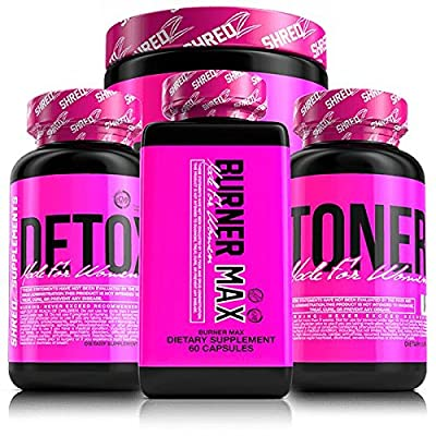 SHREDZ 30 Day Quick Weight Loss Supplements for Women - Clinically Studied Ingredients, Lose Weight, Tone Muscle, Best Supplements!