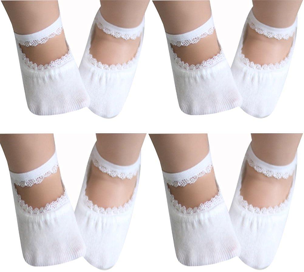 4-Pack Toddler Socks Baby Girl Anti Slip Socks No-Show Crew Boat Ankle Socks