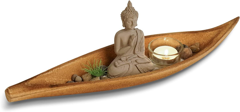 WGFKVAS Mini Zen Garden, Japanese Zen Garden Kit & Garden Accessories with Buddha Statue, Zen Sand, Rock, Grass, Candle Stand, Wood Tray for Desk, Mediation Tables, Gift, Decor
