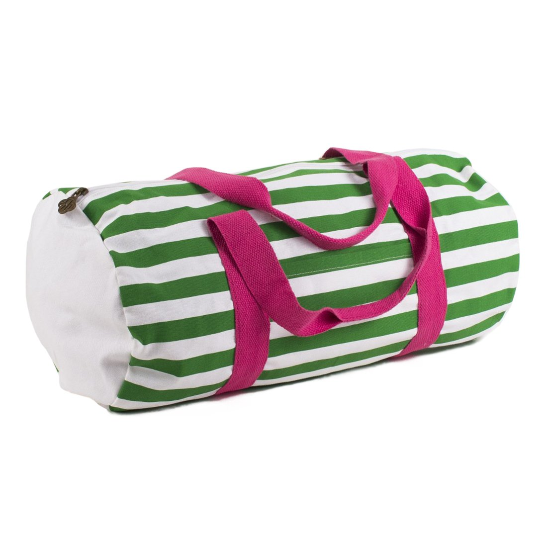 Striped Kelly Green White Pink 20 x 9.5 Inch Kids Duffle Bag