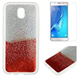For Samsung Galaxy J7 2017 J730 Glitter Case with Screen Protector,OYIME Luxury Shiny Design Ultra Thin Slim Fit Soft Silicone Rubber Bumper Scratch Resistant Protective Back Cover - Red