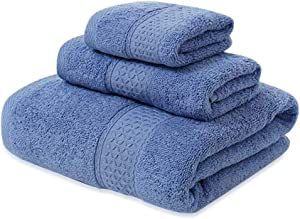 Bath Towel Set-Solid Towel Set 100% Cotton Eco-Friendly 3 Piece Towel Set; 1 Bath Towels, 1 Hand Towels and 1 Washcloths Perfect for Bathrooms, Spa or Hotels (Grey Blue) (Grey Blue)