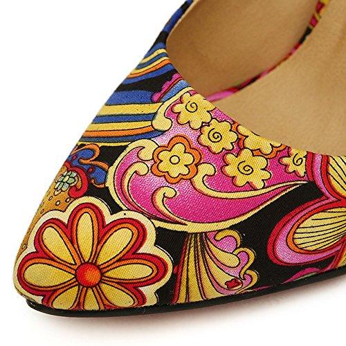 Scarpe Da Donna Colorblock Con Stampa Floreale A Fiori, Scarpe Con Tacco Medio A Punta Tacco Sul Nero