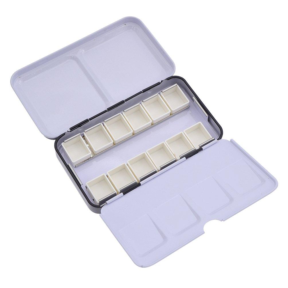 ynuth leer Metall Aquarell Blech Box mit 12/leer halbe Pfannen f/ür Aquarell 12 pans