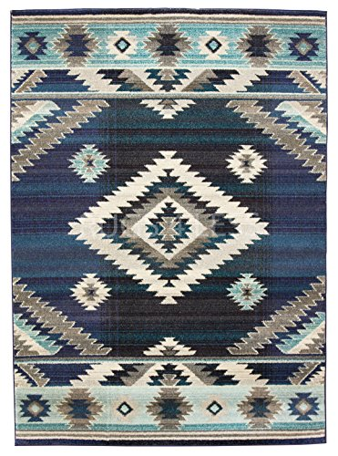 (Rugs 4 Less Collection Southwest Native American Indian Area Rug Design R4L 1033 Storm Blue Gray Purple Turquoise Blue (5'X7'))