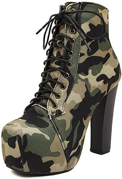 ee6d9cf5 IDIFU Women's Trendy Camouflage High Chunky Heels Platform Lace Up Ankle  Boots Martin Booties (Army
