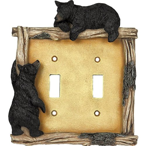 Bear and Twig Lodge Double Switch Plate Cover - Rustic Decor