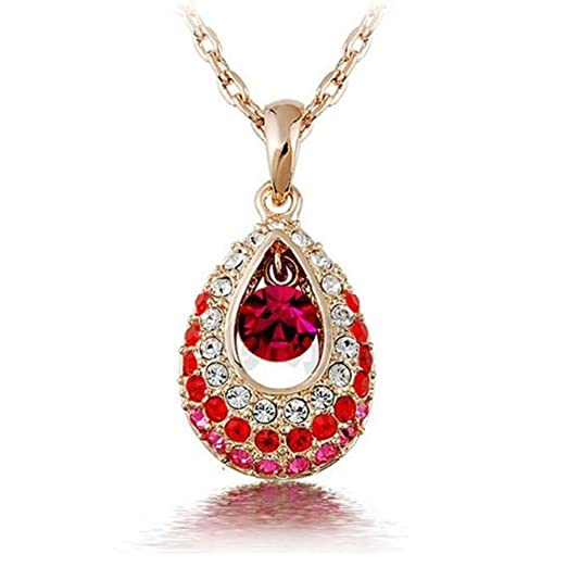 New Women Angel Tears Gold Plated Crystal Water Droplets Pendant Necklace Red