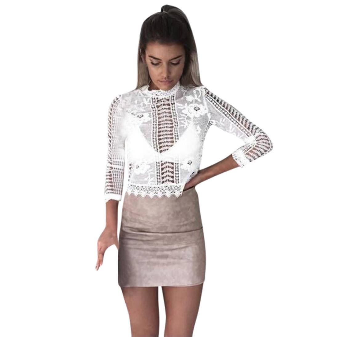 Camisate para mujer floral de encaje sexy de manga larga Camisa blusa femenina hueco sudadera Blouse Sweatshirt Pullover Dresses (Blanco, L): Amazon.es: ...