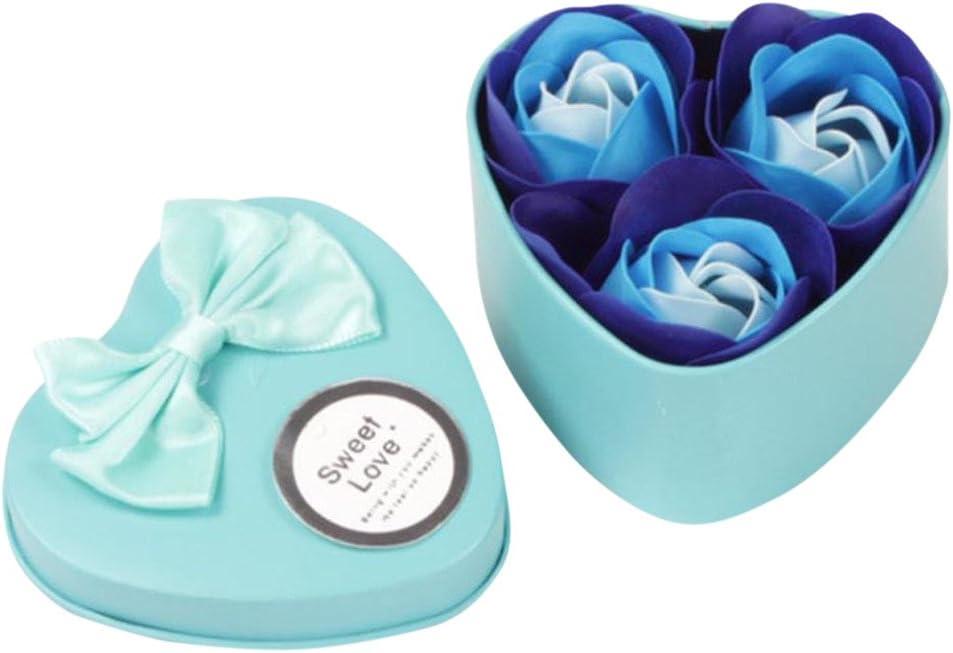 Fleur De Savon De Bain pour Le P/étale du Corps Parfum/é ZHMEI Fleurs Saint Valentin 3Pcs Fleurs De Roses Artificielles avec Bo/îte De Coeur Emballage M/ères