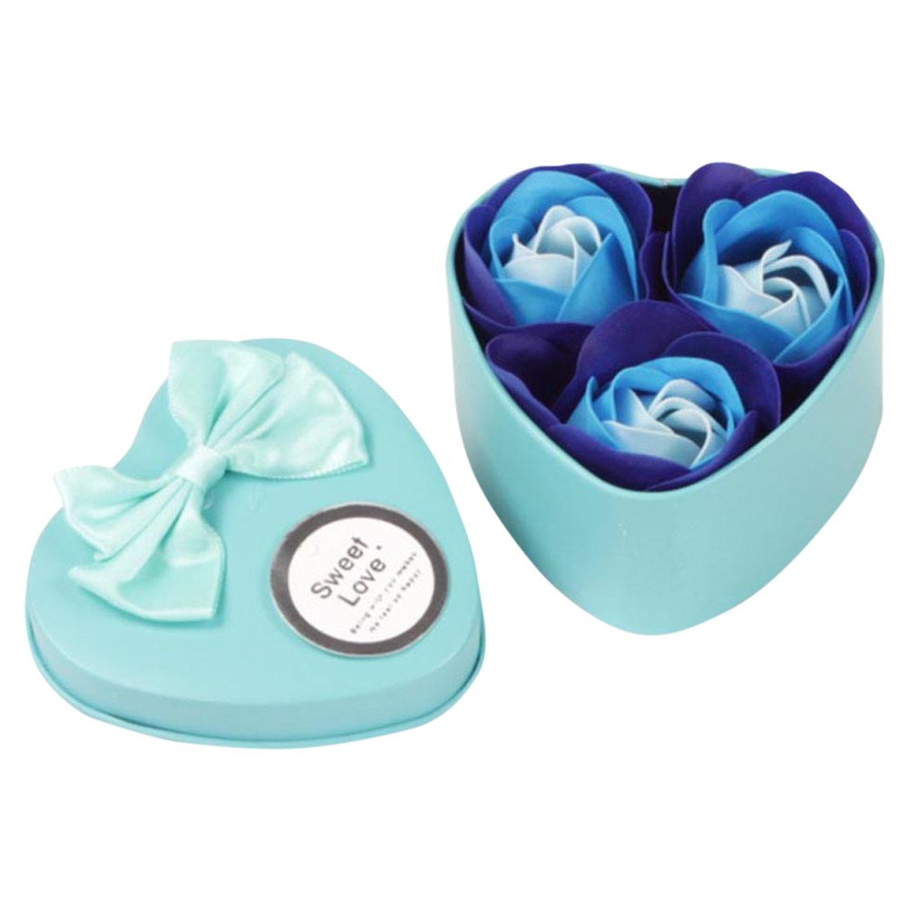 Pollyhb 3Pcs Floral Floral Scented Bath Soap Rose Flower,Gift for Anniversary Birthday Wedding Valentine's Day Mother's Day,Best Gifts Ideas for Her Women Teens Girls Mom (Blue)