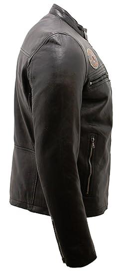 Infinity Leather Chaqueta Motera Retro con Estampado de Hombre Tanger Negro: Amazon.es: Ropa y accesorios
