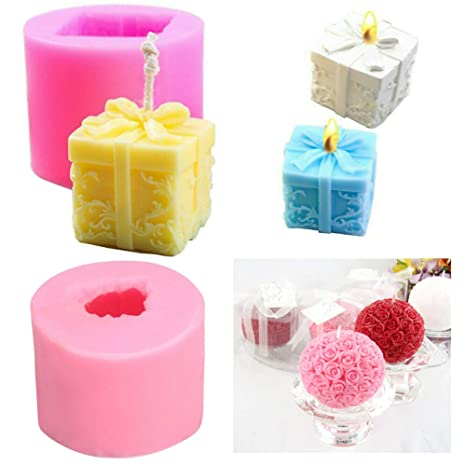 Rose Flower Box Candle Silicone Moulds Homemade Soap Making Mould for Cake Decoration Wedding Baby Shower Birthday Christmas Gift DIY Craft Pack of 2 Pink