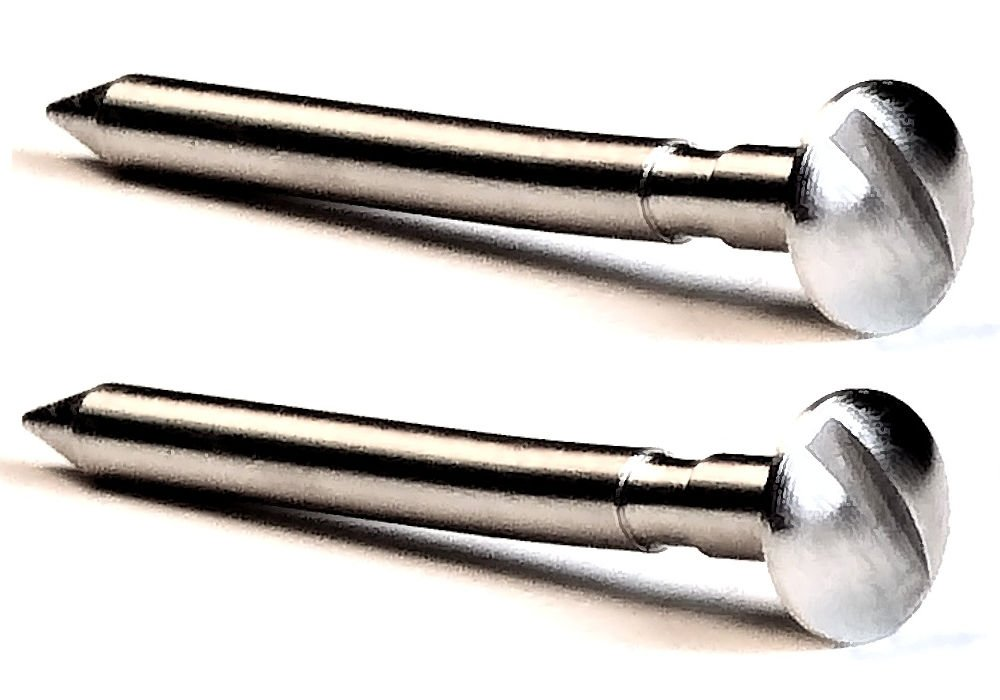 Pinewood Derby Machined 2.5 Degree Bent Axles with Easy Turn Screw Driver Slot – Polished Grooved and Nickel Plated Axles for Rail Riding or Canting Rear Axles – (2 axles)