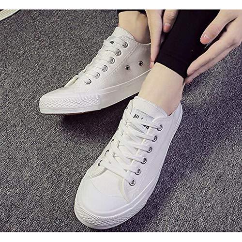 ZHZNVX Zapatos de Mujer Canvas Comfort Comfort Sneakers Flat Heel Blanco/Negro / Amarillo White