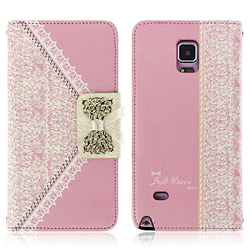 Aobiny Fresh Flip Wallet Leather Cell Phone Case Mobile Cover for Samsung Galaxy Note 4 Pink
