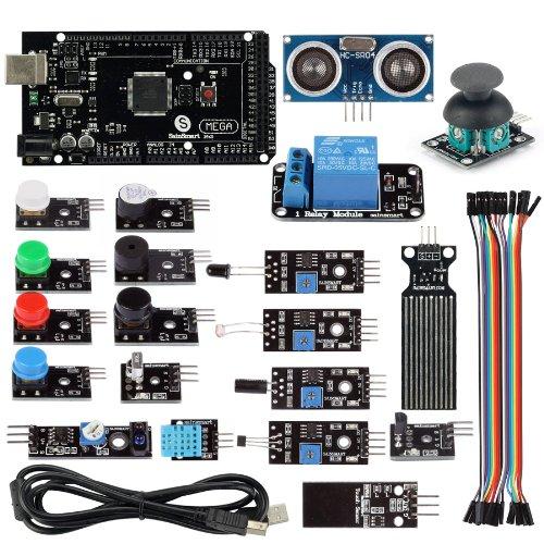 SainSmart 20 Sensor Modules + Mega2560 R3 Education Starter Kit with 1 Relay Module + HC-SR04 Distance Sensor + PDF Tutorial Instruction for Arduino UNO MEGA2560 R3 Duemilanove 2013 Robot