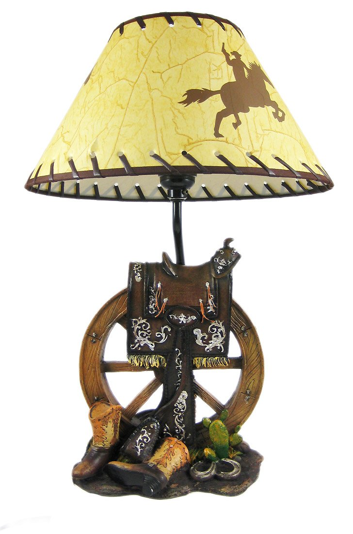 Resin Table Lamps Western Saddle Lamp W Cowboy Print Shade 12 X 18 Inches Brown Com