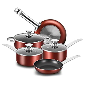 COOKER KING Non-Stick Cookware Set, 8 Piece Nonstick Pots and Pans Set with Glass Lids, Oven Safe, Dishwasher Safe, Stainless Steel Handles, Glitter Dark Red