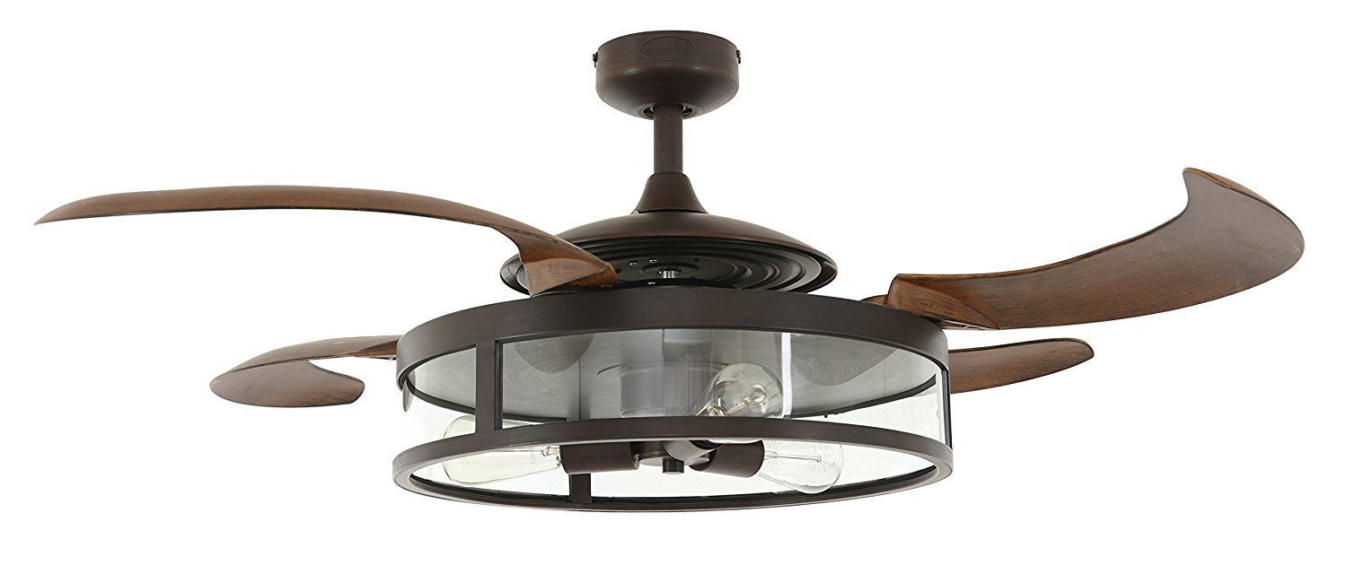 Fanaway Classic 48-Inch Fan with Clear 4 Retractable Blades with LED Light Kit, Oil Rubbed Bronze
