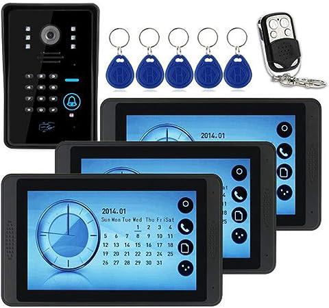 LIBO Videoportero Kit Cableado Audio 7 Impermeable Digital HD Monitor Visi/ón Nocturna IR C/ámara para Sistema de Entrada de Puerta de Casa