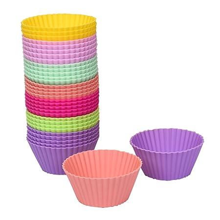 Juego de 24 Mini Copas de Muffin de Silicona Redondas para ...