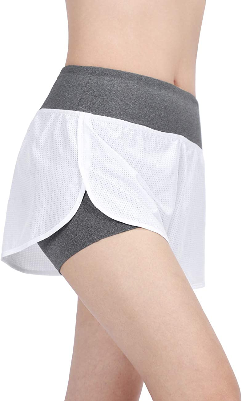 DISHANG Womens 2 in 1 Yoga Gym Sport Shorts Workout Running Short Pants Quick Dry Athletic Shorts with Back Zipper Pocket