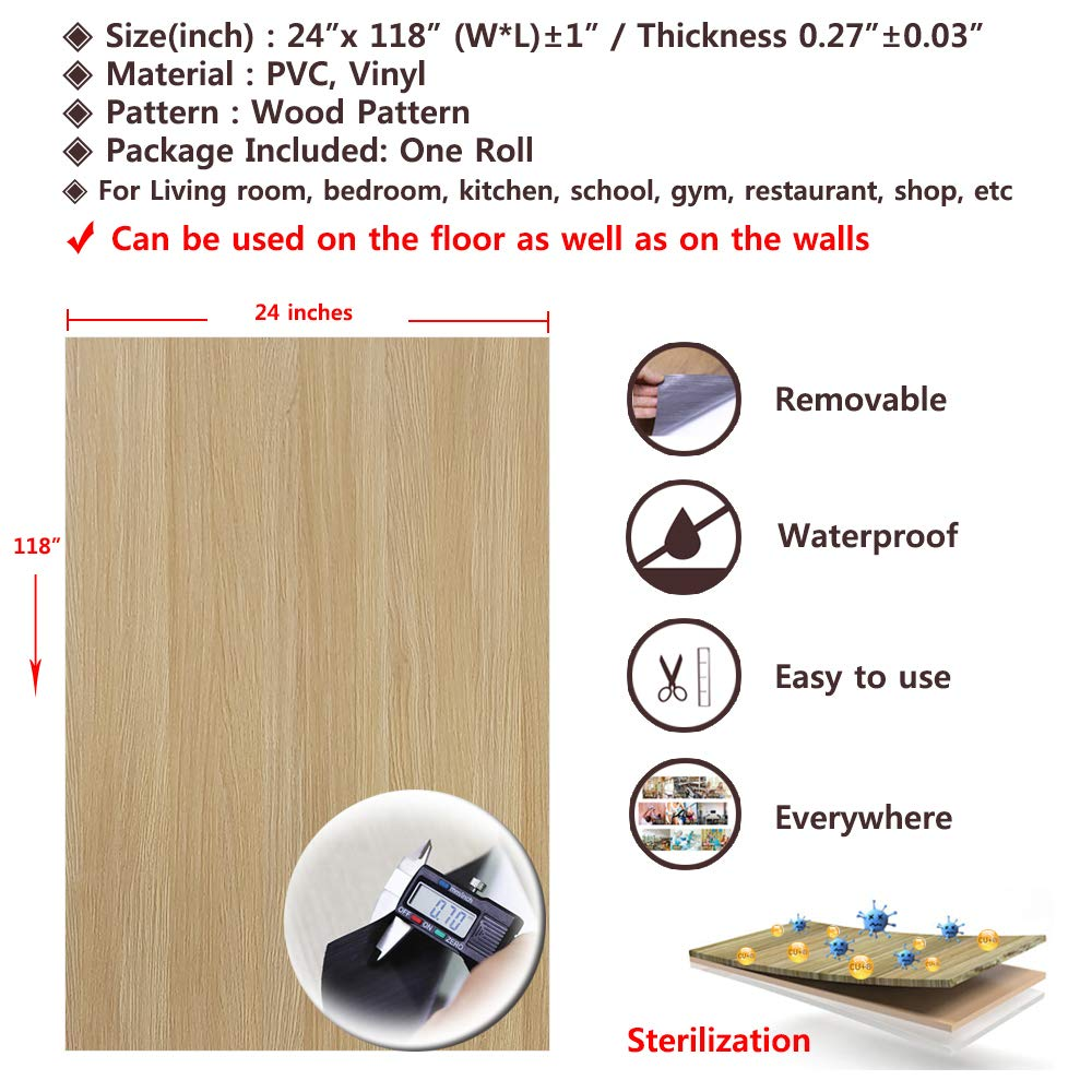 Self-Adhesive Contact Paper Film Peel and Stick Multi-Usage Removable Waterproof Home Decoration Premium sterile Vinyl Flooring Sheet Wallpaper Sticker Oak Wood 24 X 118 inches
