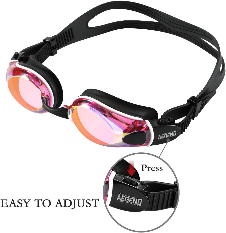 No Leaking Anti-Fog UV Protection Swim Goggle for Adult Men Women Youth Aegend Swim Goggles Flat Lens Swimming Goggles with Adjustable Nose Pieces