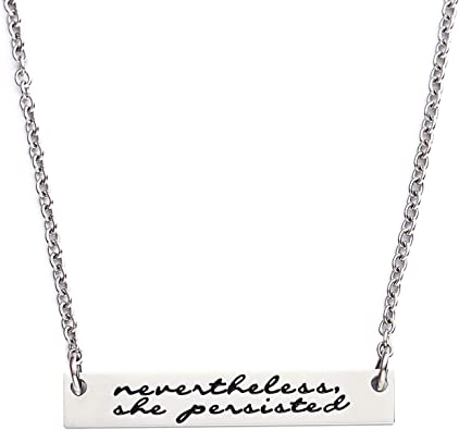 Feminist hand stamped bar necklace in silver equality jewelry christmas gift for her feminism jewelry