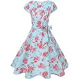 Ansenesna Kleid Damen Sommer Knielang Blumen Vintage Elegant Cocktailkleid  A Linie Kurz Mit Ärmeln Rockabilly Für c89f193c8b