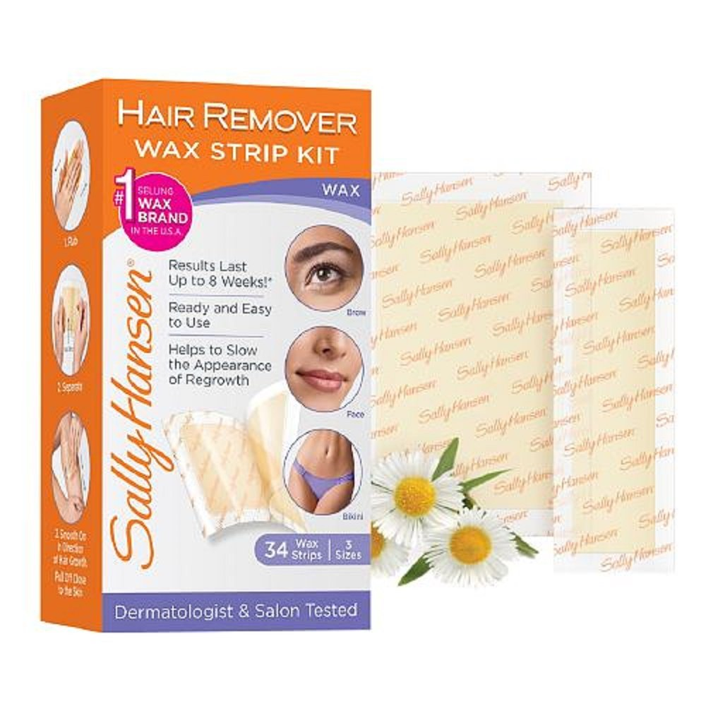 Sally Hansen Hair Remover Wax Strip Kit Brow/Face/Bikini (2 Pack)